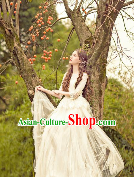 Traditional Classic Women Clothing, Traditional Classic Palace Heavy Lace Wedding Dress Bride Big Hem Long Skirts