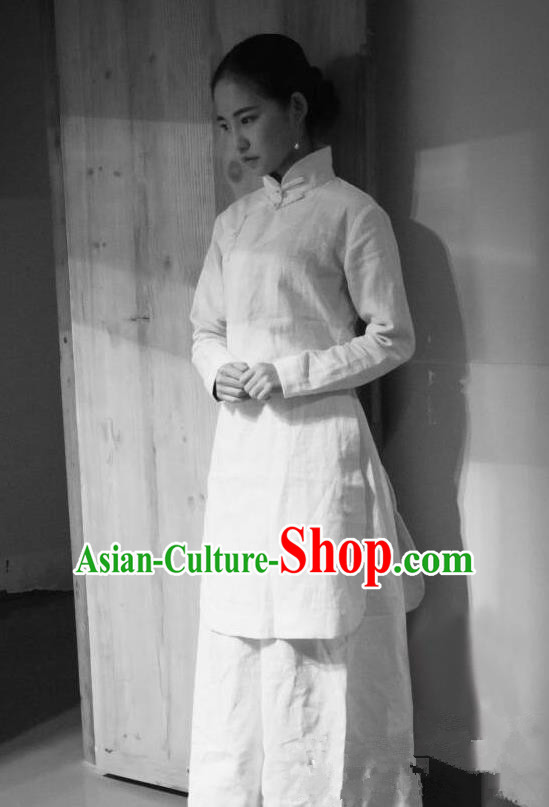 Traditional Classic Women Clothing, Traditional Classic Chinese Flax Jade Buckle Cheongsam, Linen Qipao for Women