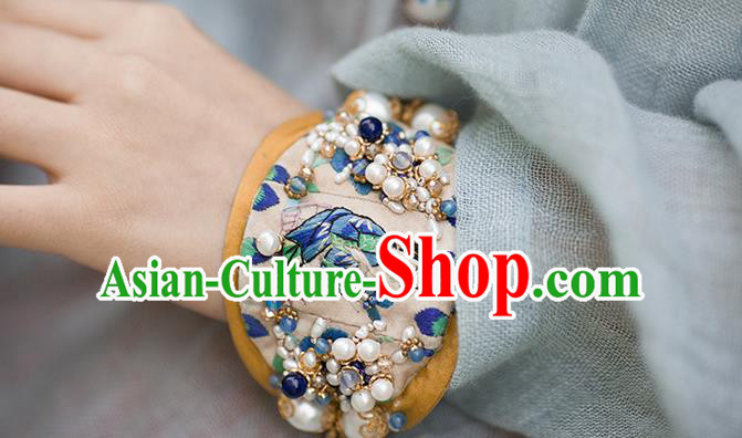 Traditional Classic Women Accessories, Traditional Classic Chinese Embroidery Bracelets, Hand Wrist Accessories, Silver Pearl Bracelet for Women