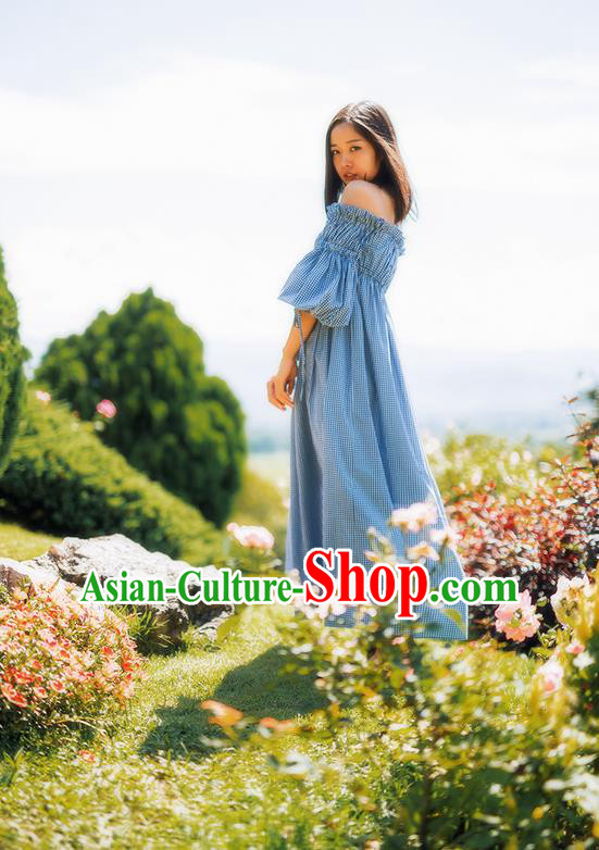 Traditional Classic Women Clothing, Traditional Classic Boat Neck Collar Cotton Palace Princess Long Skirt Horn Sleeve Dress