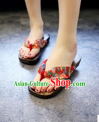 Japanese Traditional Style Thongs Clogs for Women Geta Flip-Flops Wooden