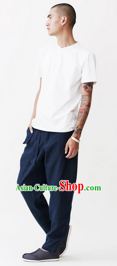 Traditional Chinese Linen Tang Suit Men Trousers, Chinese Ancient Costumes Cotton Pants for Men