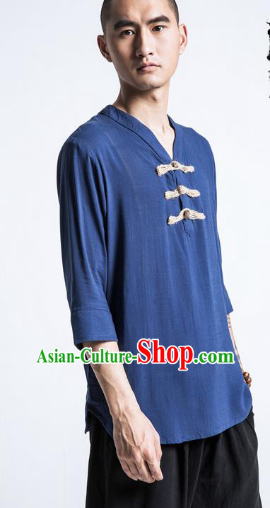 Traditional Chinese Linen Tang Suit Men Costumes, Chinese Ancient V-Neck Silk Floss Short Sleeved T-Shirt Plate Buttons Costume for Men