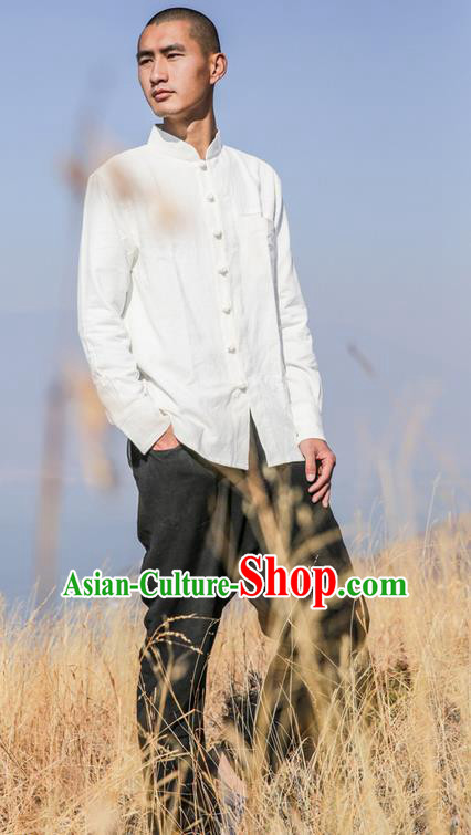 Traditional Chinese Linen Tang Suit Men Costumes, Chinese Ancient Tunic Suit Long Sleeved Shirt Plate Buttons Shirt for Men