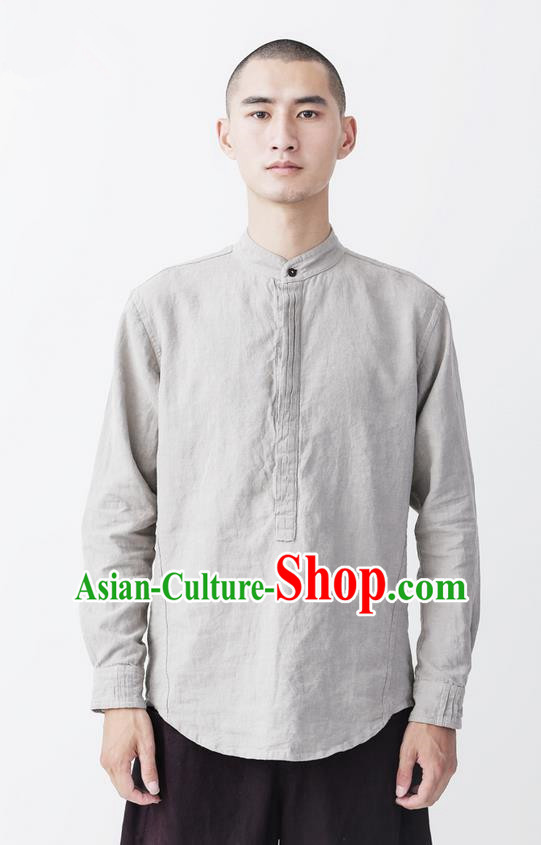 Traditional Chinese Linen Tang Suit Men Costumes, Chinese Ancient Tunic Suit Long Sleeved Shirt for Men