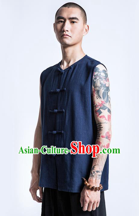 Traditional Chinese Linen Tang Suit Men Costumes Vest, Chinese Ancient Tangsuit Hanfu Plate Buttons Sleeveless Vests for Men