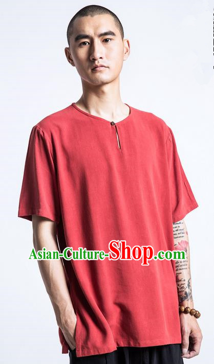 Traditional Chinese Linen Tang Suit Men Costumes, Chinese Ancient Coconut Buttons Short Sleeved T-Shirt Costume for Men