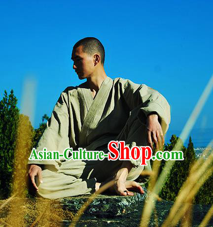 Traditional Chinese Linen Tang Suit Men Costumes Coat, Chinese Bandhnu Hanfu, Chinese Ancient Zen Garments Linen Jacket for Men