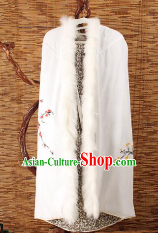Traditional Chinese Female Costumes Dress Smock,Chinese Acient Extended Cloak, Chinese Hanfu Extended Cloak, Fur Collar Cloak for Women