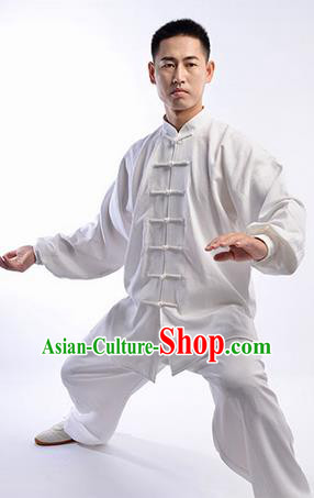 Top Chinese Traditional Natural Linen Kung Fu Costume Martial Arts Kung Fu Training Uniform Gongfu Shaolin Wushu Clothing Tai Chi Taiji Teacher Suits Uniforms for Men