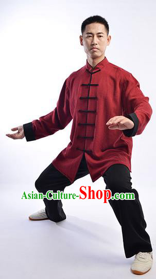 Traditional Chinese Top Thicken Linen Kung Fu Costume Martial Arts Kung Fu Training Uniform Tang Suit Gongfu Shaolin Wushu Clothing Tai Chi Taiji Teacher Suits Uniforms for Men
