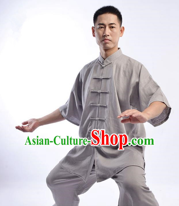 Traditional Chinese Top Linen Short Sleeve Kung Fu Costume Martial Arts Kung Fu Training Uniform Gongfu Shaolin Wushu Clothing Tai Chi Taiji Teacher Suits Uniforms for Men