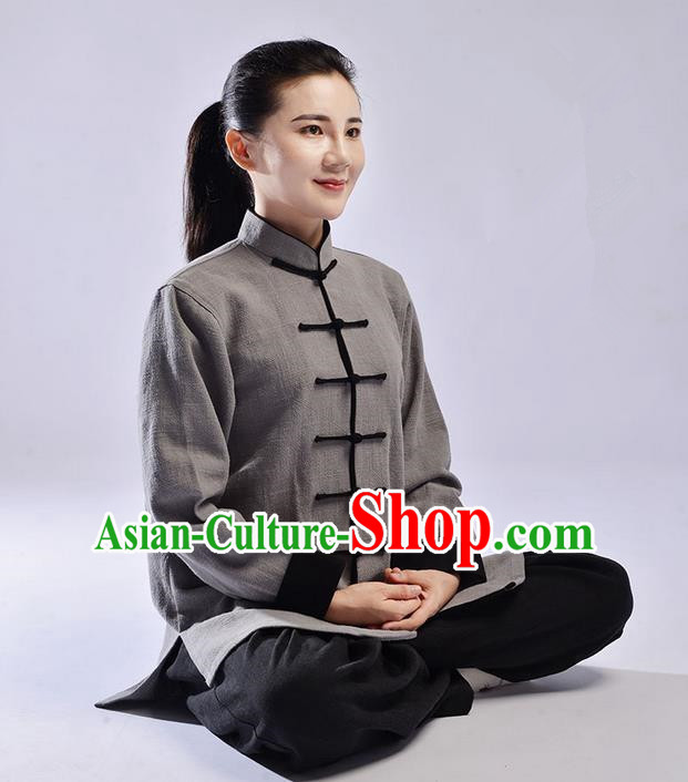 Traditional Chinese Thickening Cotton Linen Kung Fu Costume Martial Arts Kung Fu Training Uniform Tang Suit Gongfu Shaolin Wushu Clothing Tai Chi Taiji Teacher Suits Uniforms for Women