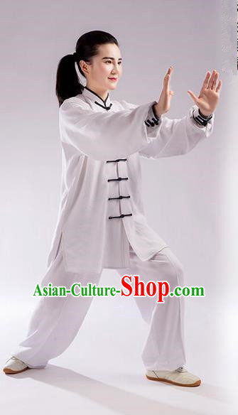 Traditional Chinese Linen Kung Fu Costume Martial Arts Kung Fu Training Uniform Tang Suit Gongfu Shaolin Wushu Clothing Tai Chi Taiji Teacher Suits Uniforms for Women