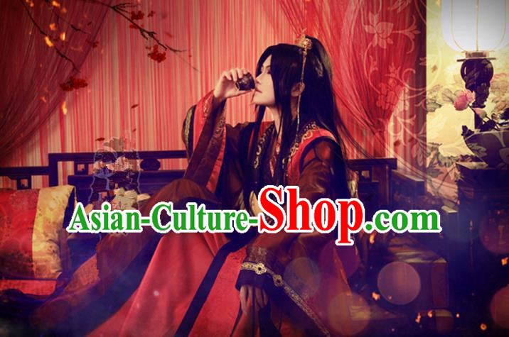 Chinese Ancient Cosplay Costumes, Chinese Traditional Embroidered Royal Prince Wedding Clothes, Ancient Chinese Cosplay Swordsman Knight Costume Complete Set For Men