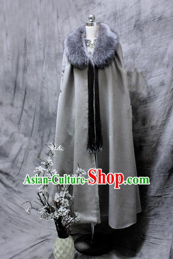 Chinese Ancient Cosplay Costumes Cloak, Chinese Traditional Embroidered Royal Prince Fur Collar Cloak, Ancient Chinese Cosplay Swordsman Knight Grey Cloak for Men