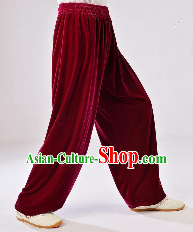 Traditional Chinese Thicken Pleuche Kung Fu Trousers, Martial Arts Kung Fu Training Trousers Tang Suit Gongfu Shaolin Wushu Clothing Tai Chi Taiji Teacher Pants for Women