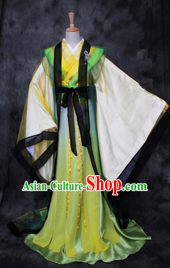 Chinese Ancient Cosplay Costumes, Chinese Traditional Embroidered Prince Clothes, Ancient Chinese Cosplay Swordsman Knight Costume Complete Set For Men