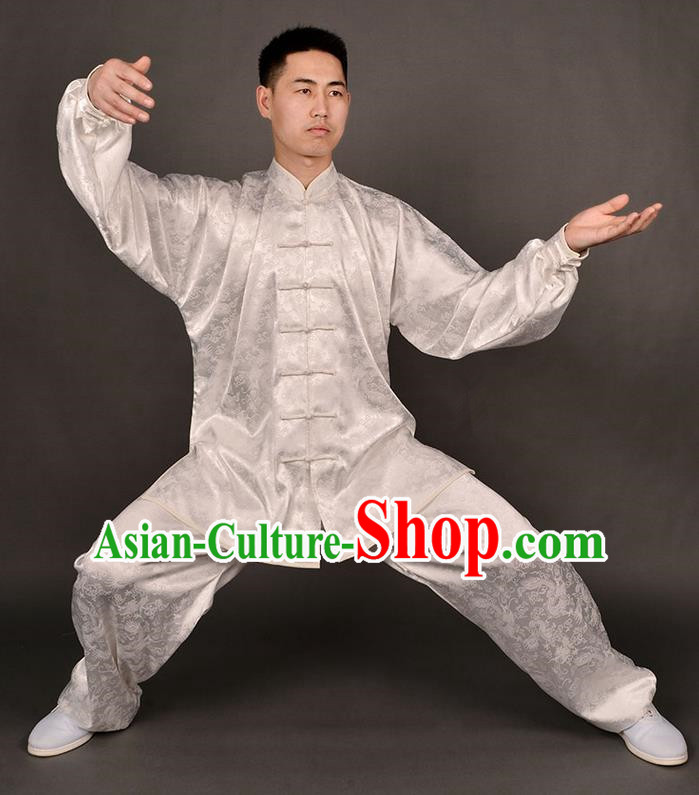 Traditional Chinese High-Grade Dragon South Korea Silk Kung Fu Costume Martial Arts Kung Fu Training Uniform Tang Suit Gongfu Shaolin Wushu Clothing Tai Chi Taiji Teacher Suits Uniforms for Men