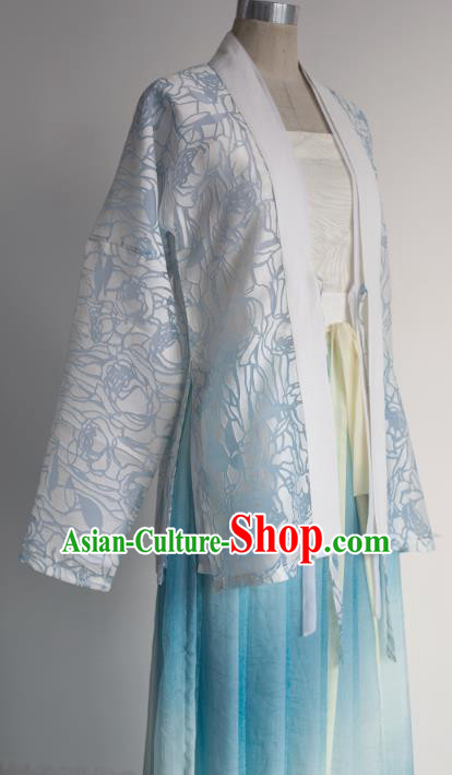 Traditional Chinese Song Dynasty Princess Embroidered Costume, Asian China Ancient Palace Lady Hanfu Clothing for Women