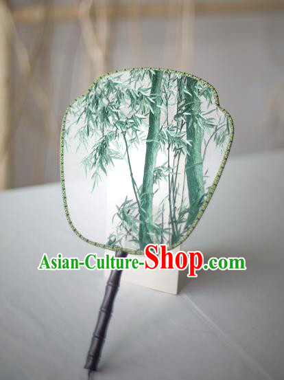 Traditional Chinese Palace Lady Accessories Hanfu Embroidered Bamboo Fans, Asian China Ancient Round Fan for Women