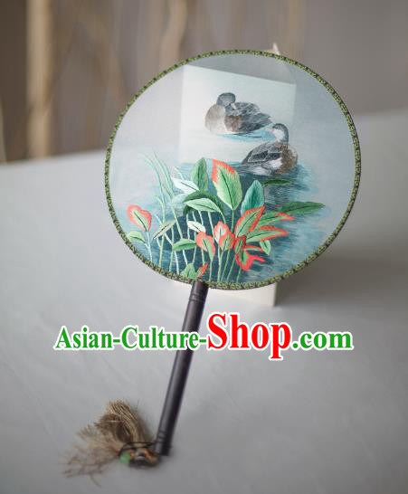 Traditional Chinese Palace Lady Accessories Hanfu Embroidered Fans, Asian China Ancient Round Fan for Women