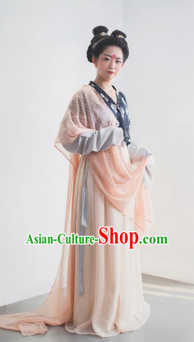 Traditional Chinese Tang Dynasty Imperial Concubine Embroidered Costume, Asian China Ancient Hanfu Dress Clothing for Women