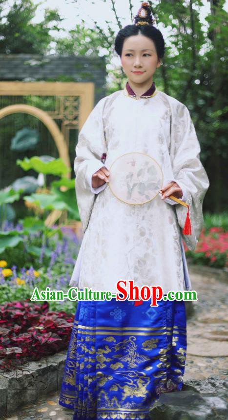 Traditional Chinese Ming Dynasty Imperial Concubine Embroidered Costume, Asian China Ancient Hanfu Palace Lady Dress Clothing