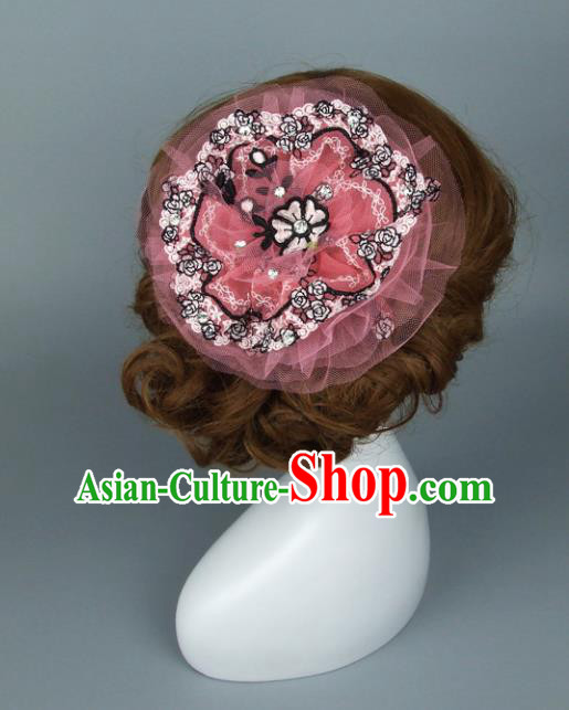 Top Grade Handmade Wedding Hair Accessories Veil Top Hat, Baroque Style Bride Headwear for Women