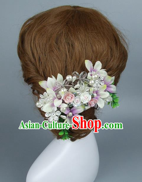 Top Grade Handmade Wedding Hair Accessories Ceramics Flowers Hair Stick, Baroque Style Bride Headwear for Women