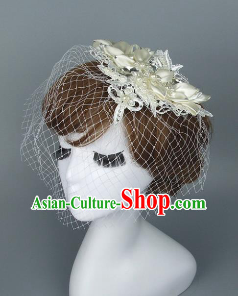 Top Grade Handmade Wedding Hair Accessories White Lace Top Hat, Baroque Style Bride Headwear for Women