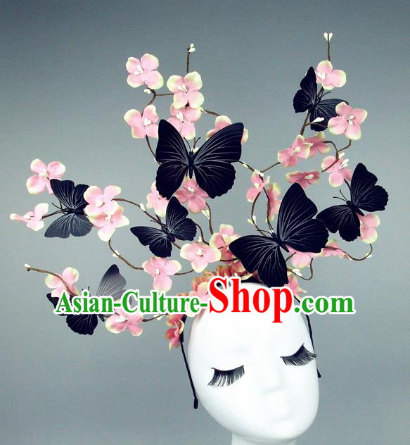Asian China Butterfly Pink Flowers Hair Accessories Model Show Headdress, Halloween Ceremonial Occasions Miami Deluxe Headwear