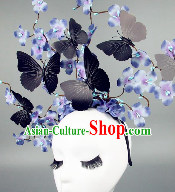 Asian China Butterfly Lilac Flowers Hair Accessories Model Show Headdress, Halloween Ceremonial Occasions Miami Deluxe Headwear