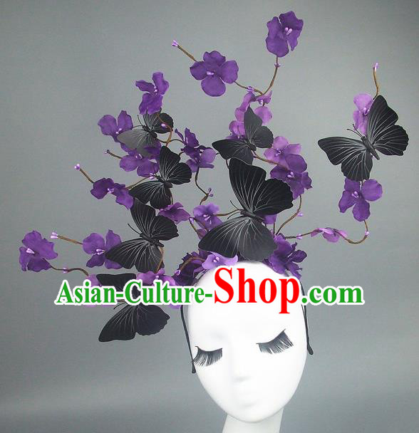 Asian China Butterfly Deep Purple Flowers Hair Accessories Model Show Headdress, Halloween Ceremonial Occasions Miami Deluxe Headwear