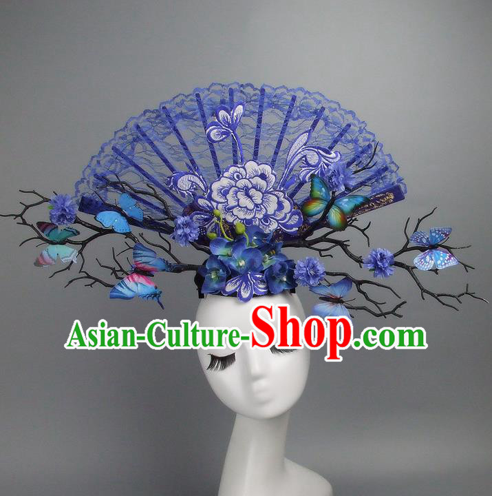 Asian China Theatrical Ornamental Flowers Blue Lace Floral Hair Accessories Model Show Headdress, Traditional Chinese Manchu Lady Headwear for Women