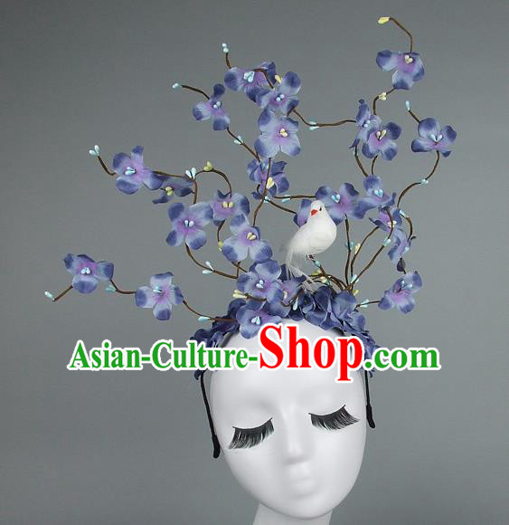 Asian China Lilac Flowers Hair Accessories Model Show Headdress, Halloween Ceremonial Occasions Miami Deluxe Headwear