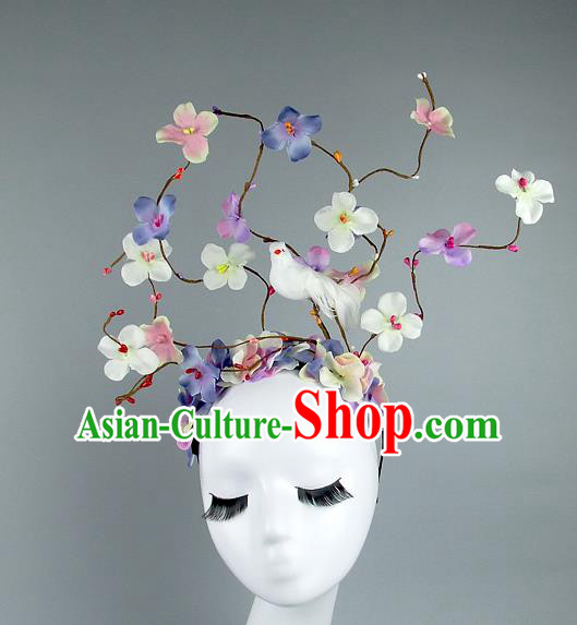 Asian China Colorful Flowers Hair Accessories Model Show Headdress, Halloween Ceremonial Occasions Miami Deluxe Headwear