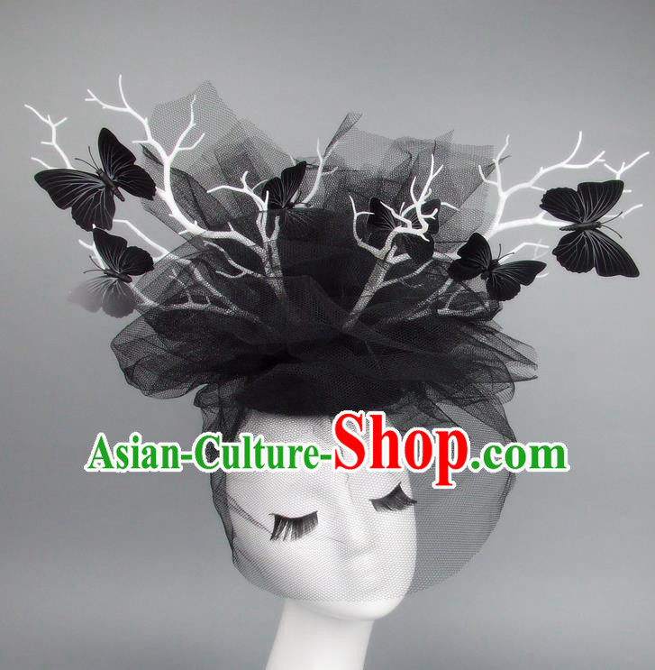Asian China Black Veil Butterfly Hair Accessories Model Show Headdress, Halloween Ceremonial Occasions Miami Deluxe Headwear