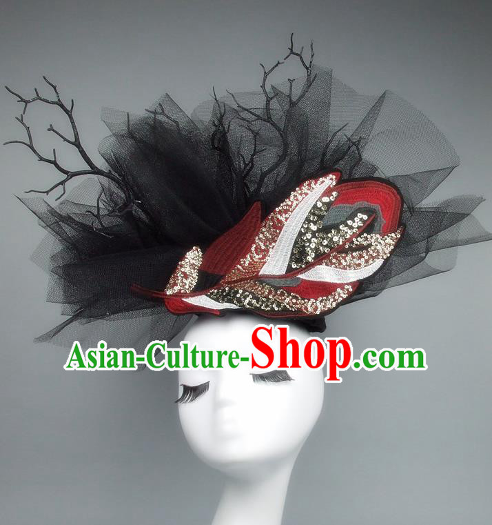 Asian China Black Veil Hair Accessories Model Show Headdress, Halloween Ceremonial Occasions Miami Deluxe Headwear