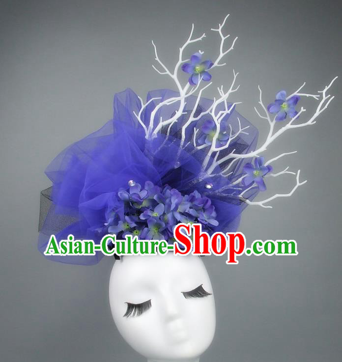 Asian China Blue Veil Hair Accessories Model Show Headdress, Halloween Ceremonial Occasions Miami Deluxe Headwear