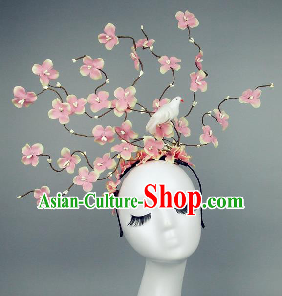 Asian China Pink Flowers Hair Accessories Model Show Headdress, Halloween Ceremonial Occasions Miami Deluxe Headwear