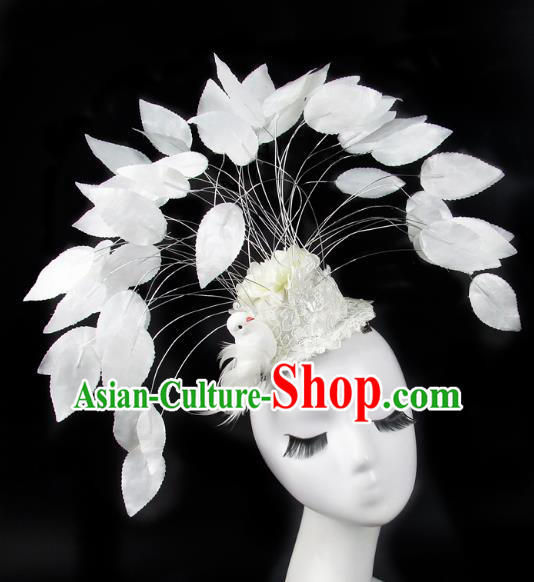 Asian China Exaggerate Hair Accessories Model Show White Feather Hat, Halloween Ceremonial Occasions Miami Deluxe Headwear