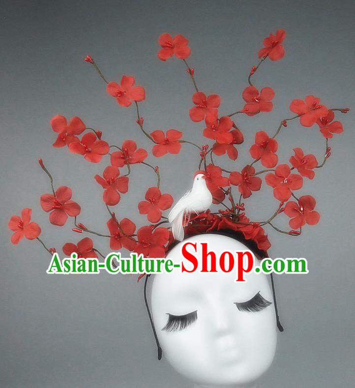 Asian China Red Flowers Hair Accessories Model Show Headdress, Halloween Ceremonial Occasions Miami Deluxe Headwear