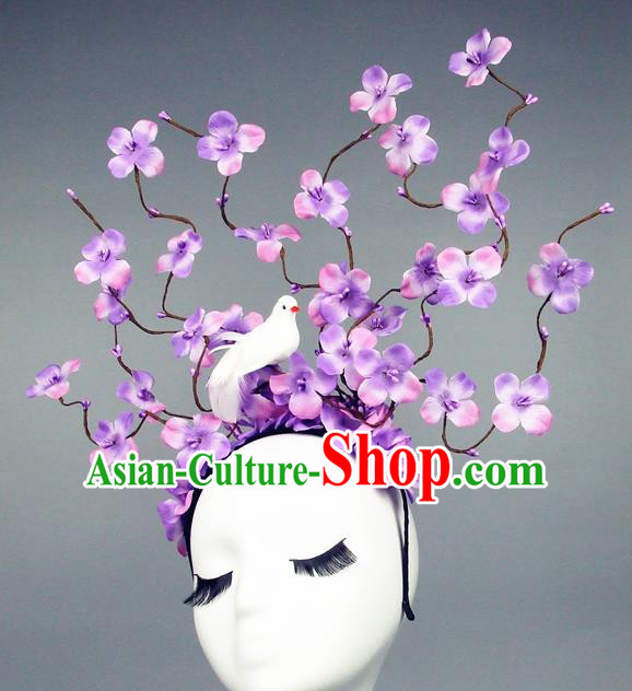 Asian China Rosy Flowers Hair Accessories Model Show Headdress, Halloween Ceremonial Occasions Miami Deluxe Headwear
