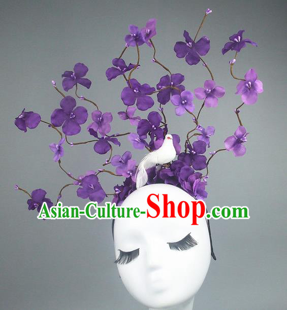 Asian China Purple Flowers Hair Accessories Model Show Headdress, Halloween Ceremonial Occasions Miami Deluxe Headwear