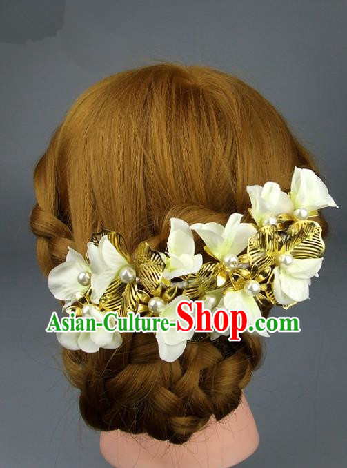 Traditional Handmade Classical Wedding Hair Accessories, Baroque Bride Yellow Flowers Hair Clasp for Women
