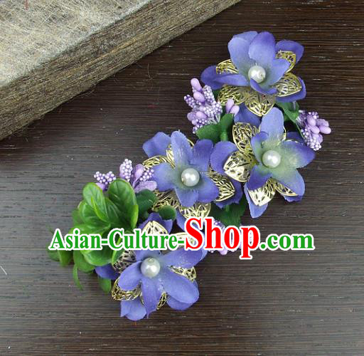 Traditional Handmade Classical Wedding Hair Accessories, Baroque Bride Purple Flowers Hair Clasp for Women