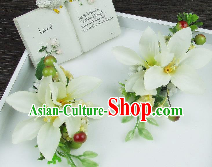 Asian China Wedding Bride Hair Accessories White Flower Hair Stick Baroque Headwear for Women