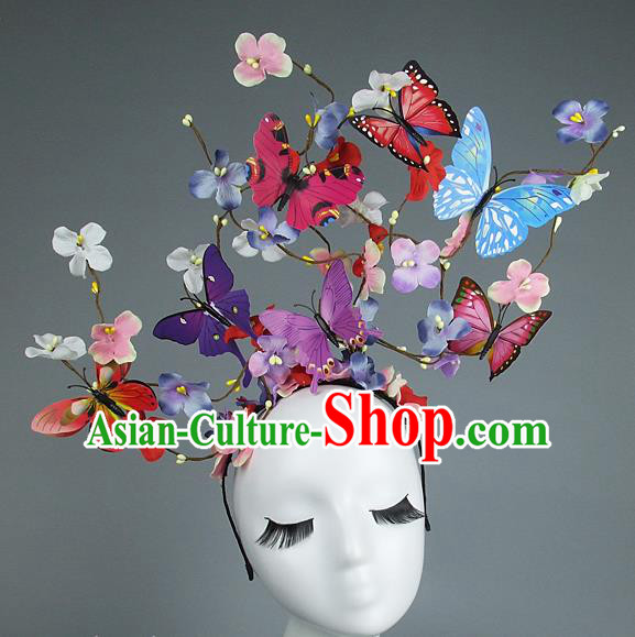 Asian China Exaggerate Hair Accessories Model Show Butterfly Headpiece, Halloween Ceremonial Occasions Miami Deluxe Headwear