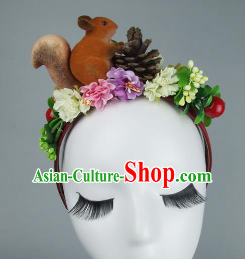 Asian China Exaggerate Hair Accessories Model Show Squirrel Flowers Headpiece, Halloween Ceremonial Occasions Miami Deluxe Headwear